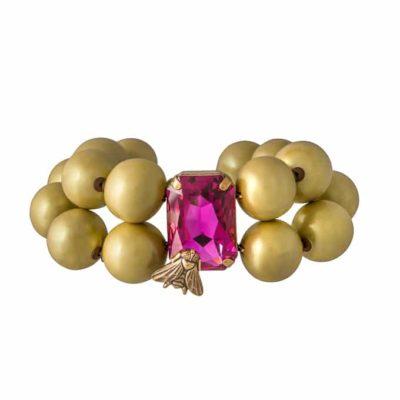 Armband-mit-goldenen-Perlen-und-Kristall-Stein-in-pink-mit-Fliege-von-Rosa-Templin