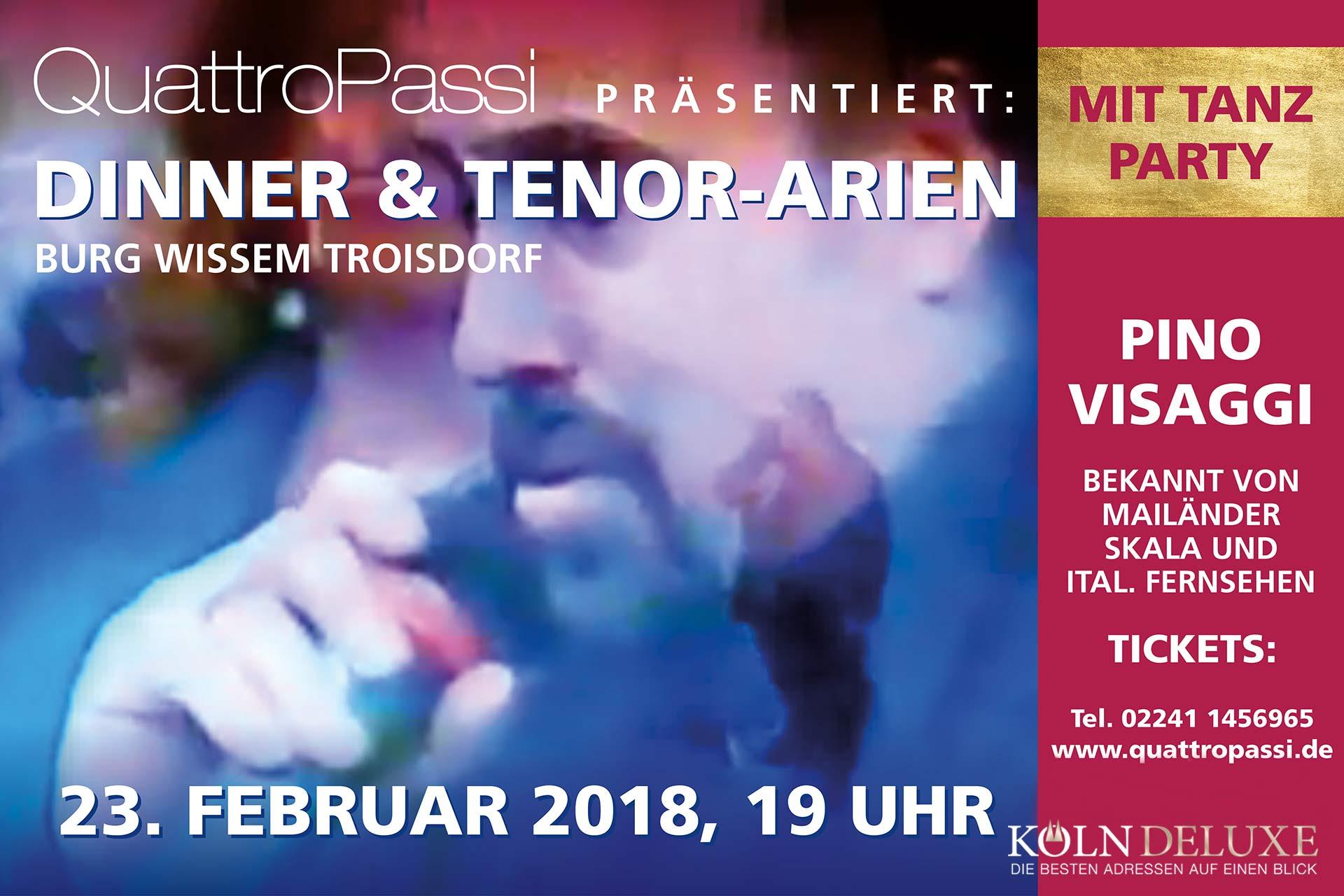 Einmalig und erstmalig – Tenorsänger aus Mailand, Pino Visaggi zu Gast in der Burg Wissem, Troisdorf