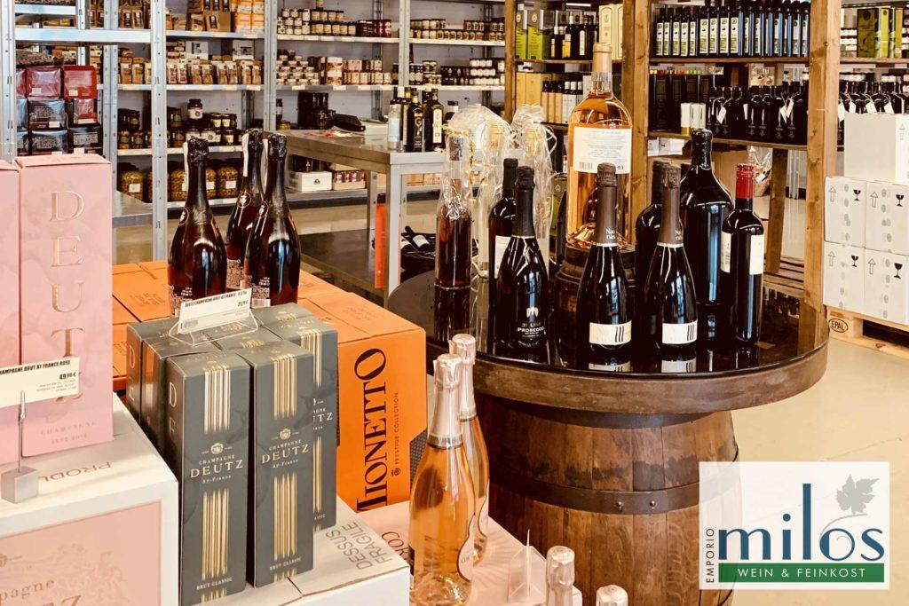 Champagner und Prosecco Sortiment bei Emporio Milos Köln - Tolle Geschenkideen