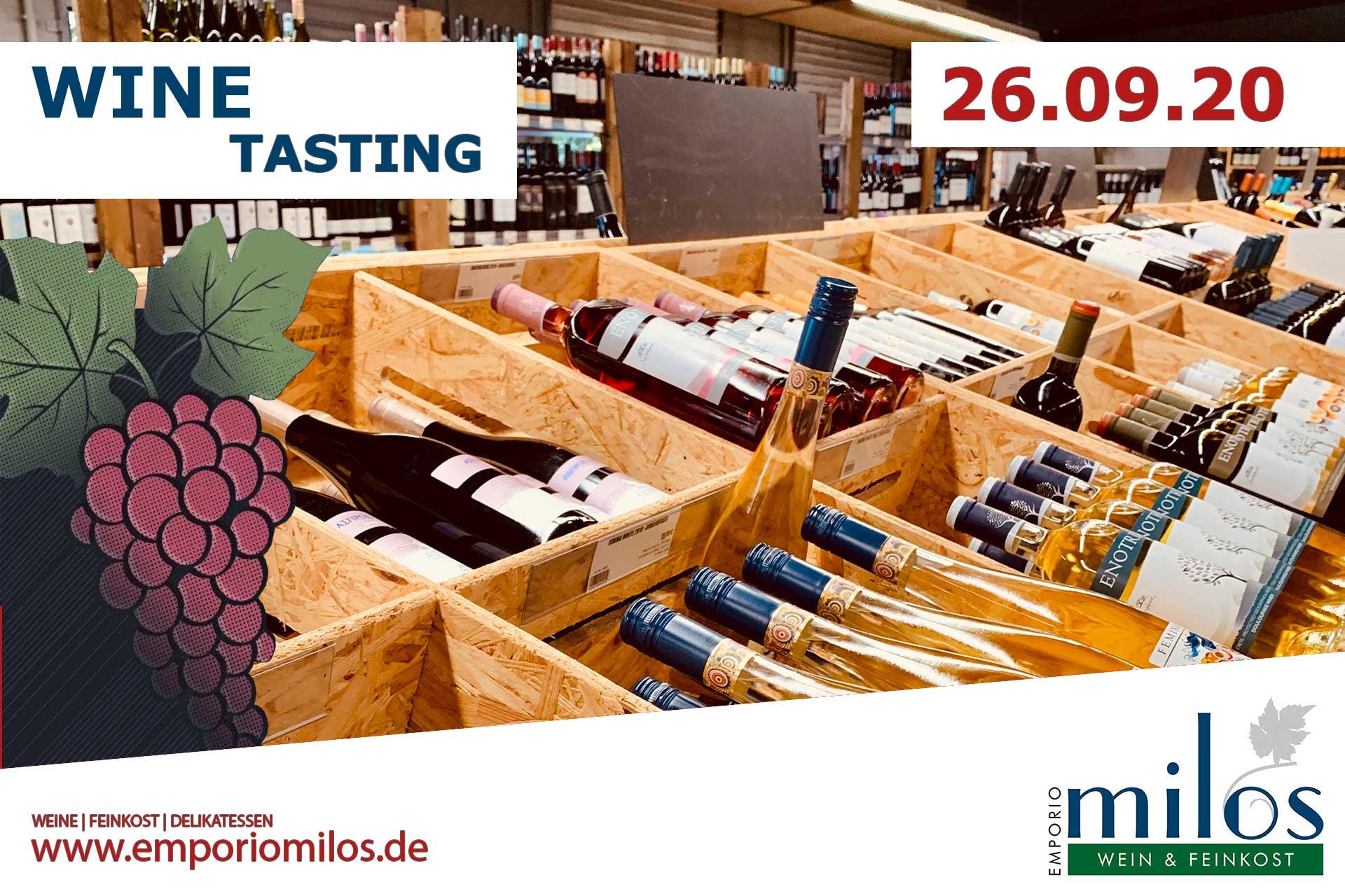 Weindegustation bei Milos Delikatessen am 26.09.2020